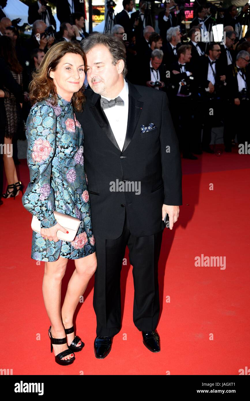 Pierre Hermé with his wife Valérie  Arriving on the red carpet for the film 'Okja'  70th Cannes - Stock Image