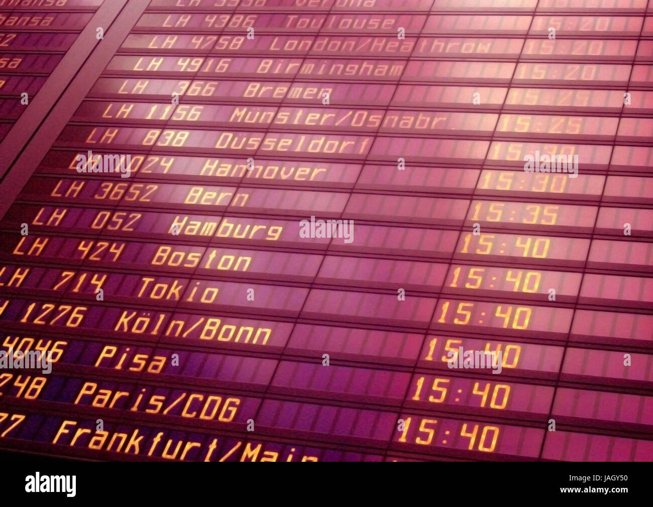 Airport,indicator panel,departures, - Stock Image