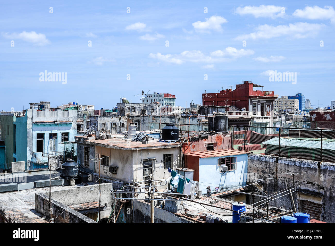 Scenic view of crumbling buildings in havana from the famous terrace of La Guarida restaurant - Stock Image