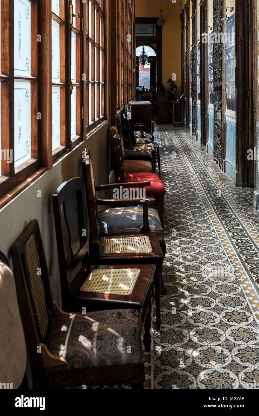 Hallway with chairs in famous La Guarida restaurant in Havana, Cuba - Stock Image