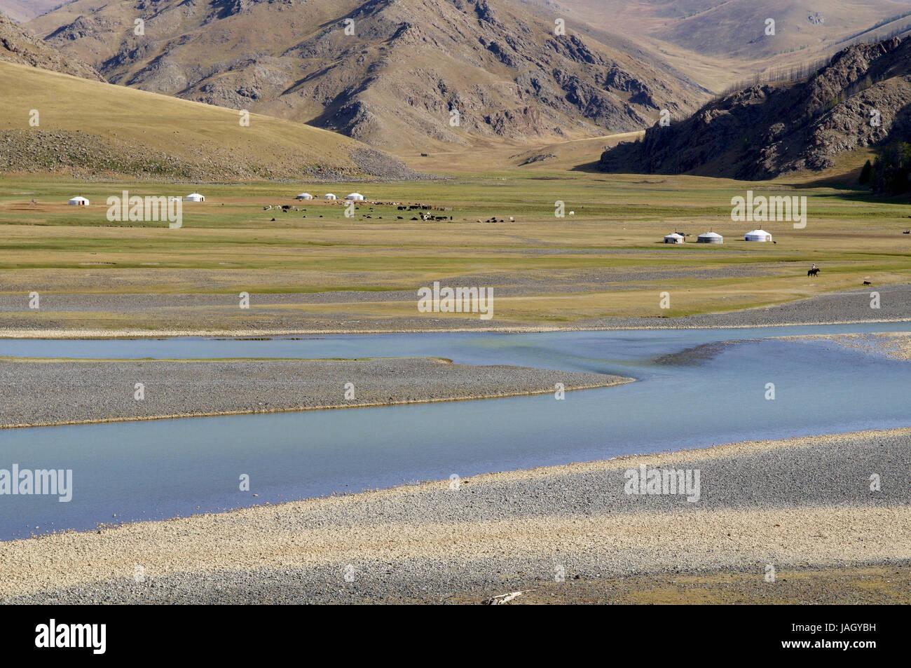Mongolia,Central Asia,Ovorkhangai province,historical Orkhon valley,UNESCO world heritage,Orkhon flux,nomad,support,Jurten, Stock Photo
