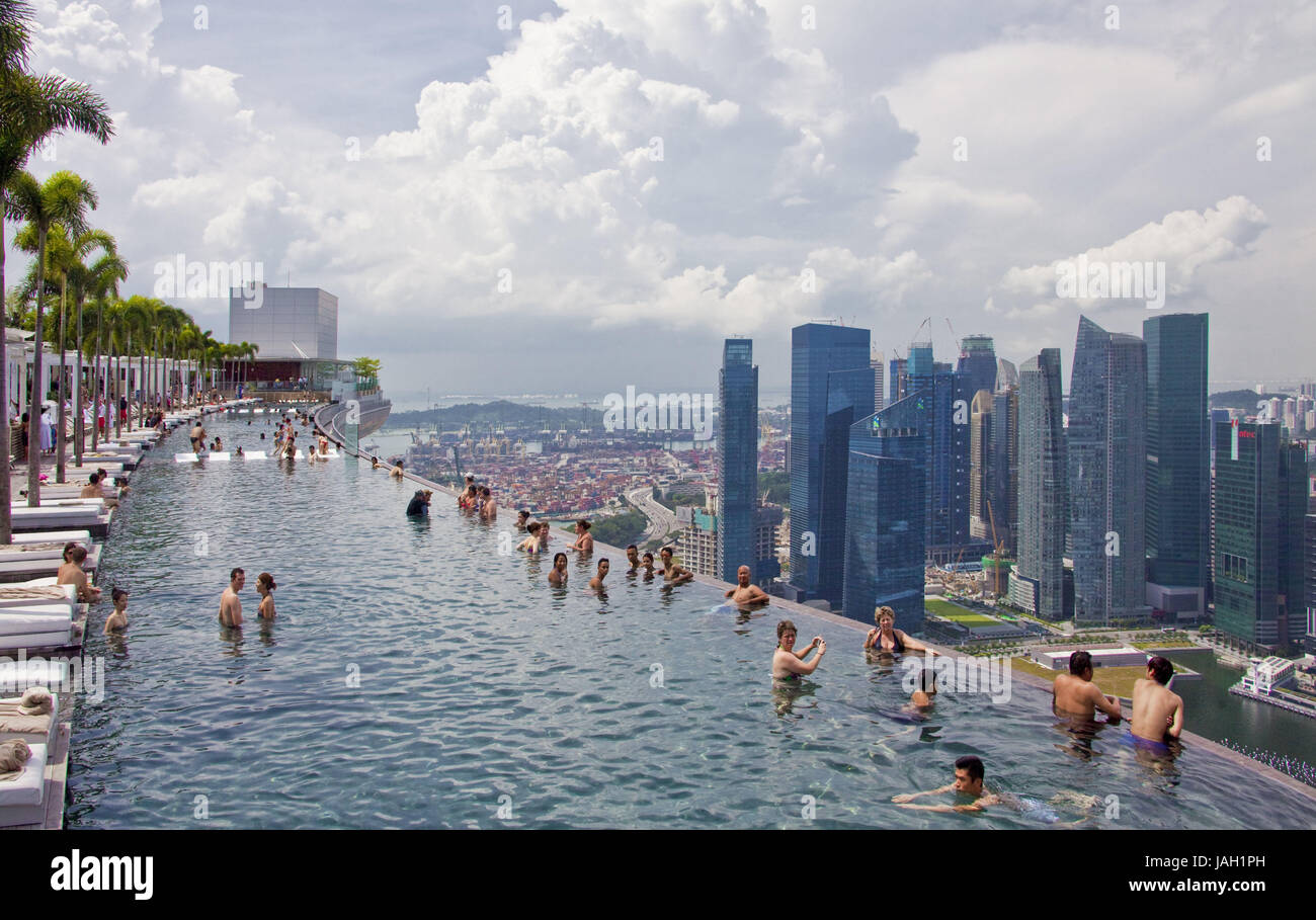 Singapore hotel 39 marina bay sands 39 roof terrace swimming - Singapore famous hotel swimming pool ...