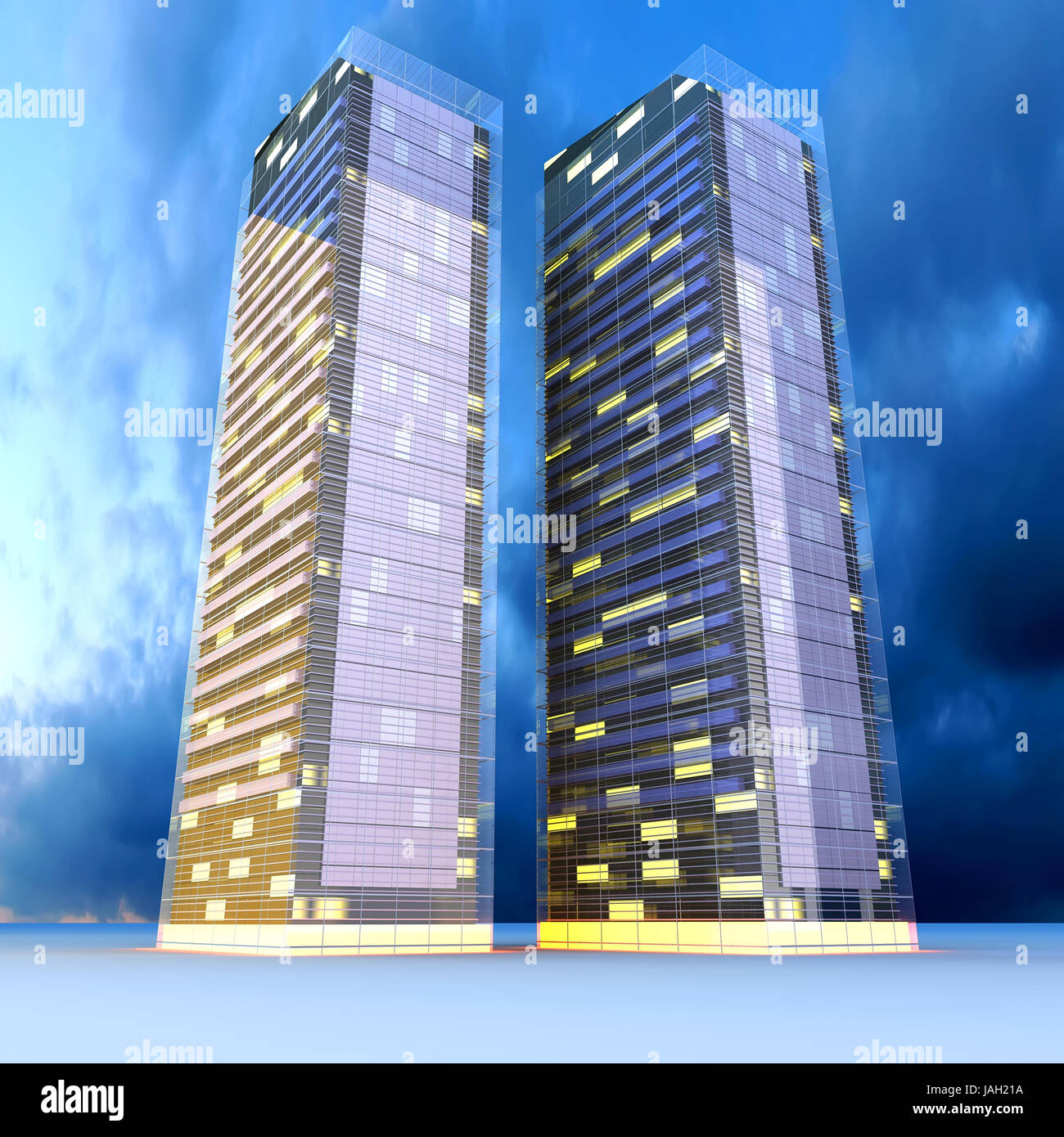 A contemporary skyscraper  3D rendered Illustration Stock