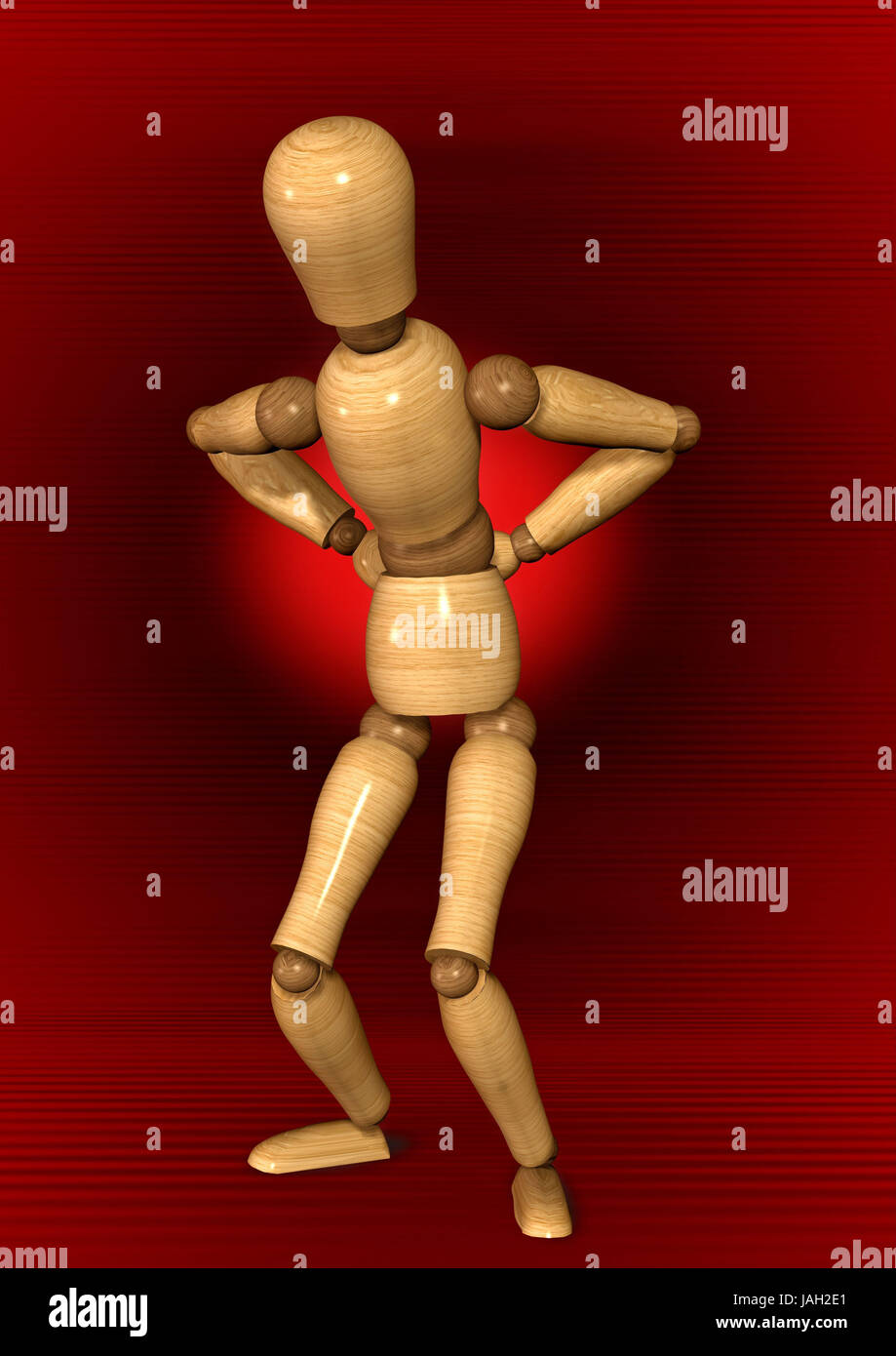 Manikin,position,back pains, - Stock Image