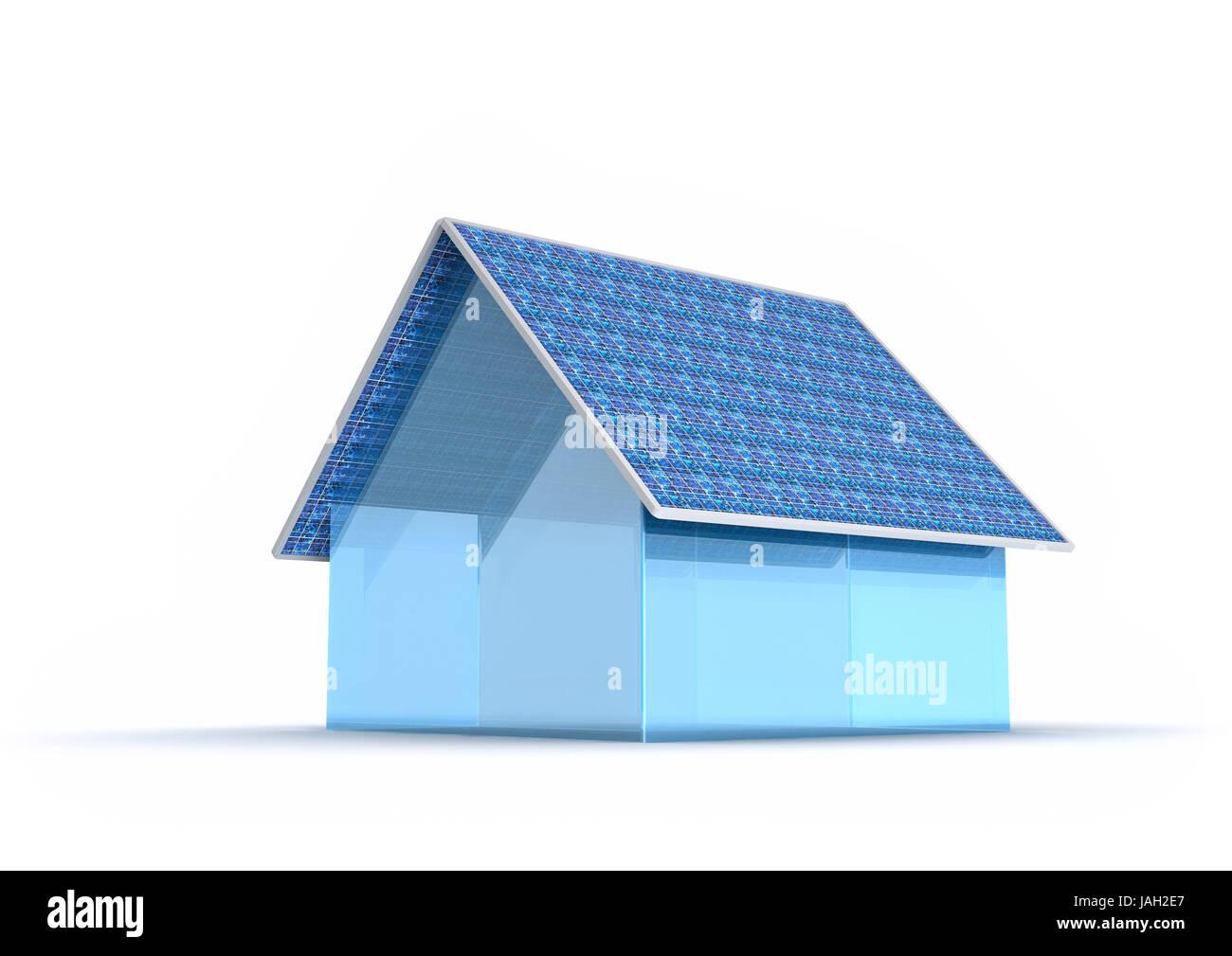 Solar power,solar house Freisteller, - Stock Image