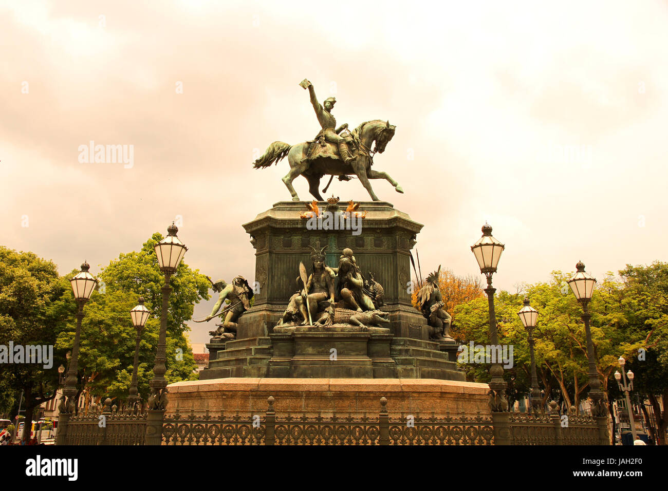 The Est‡tua equestre de D. Pedro I in the Praca Tiradentes in the center of Rio de Janeiro, Brazil, South america. - Stock Image