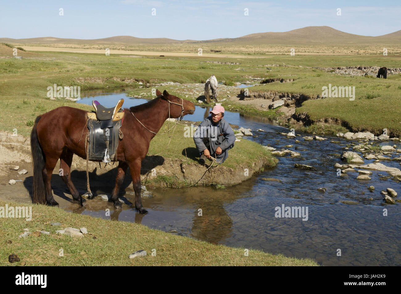 Mongolia,Central Asia,Ovorkhangai province,bleed,riverside,rest, Stock Photo