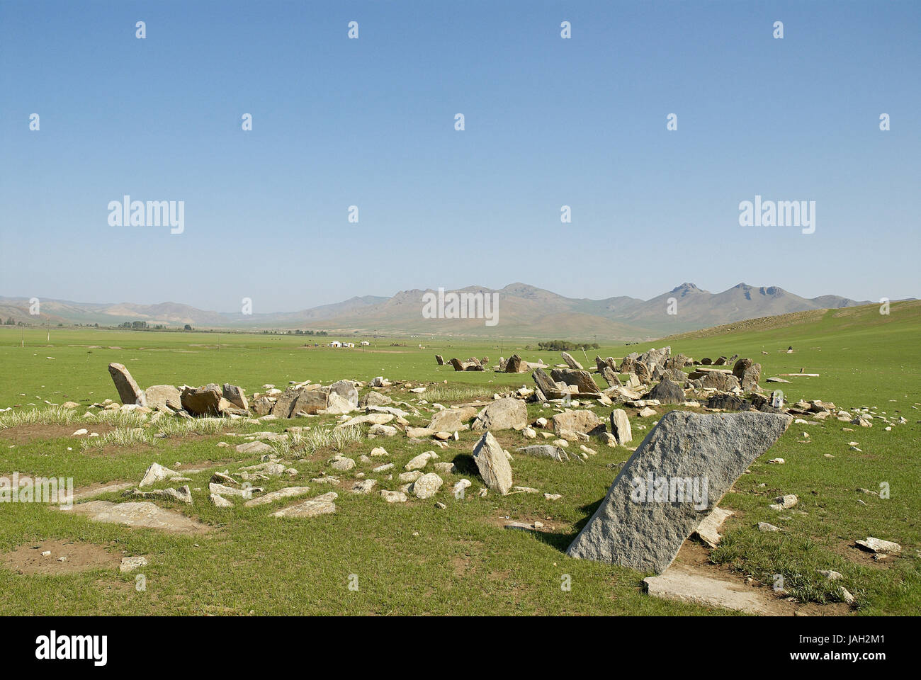 Mongolia,Central Asia,Ovorkhangai province,historical Orkhon valley,UNESCO world heritage,stone steles, Stock Photo
