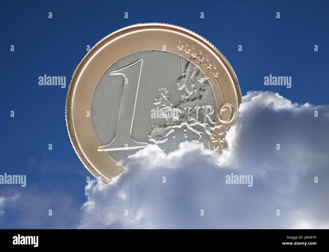 Heaven,1 euro of coin,clouds,euro,€,euro coin,monetary coin,money,coin,the EU,Europe,cloudy,eurocrisis,inflation,sky,blue,currency - Stock Image