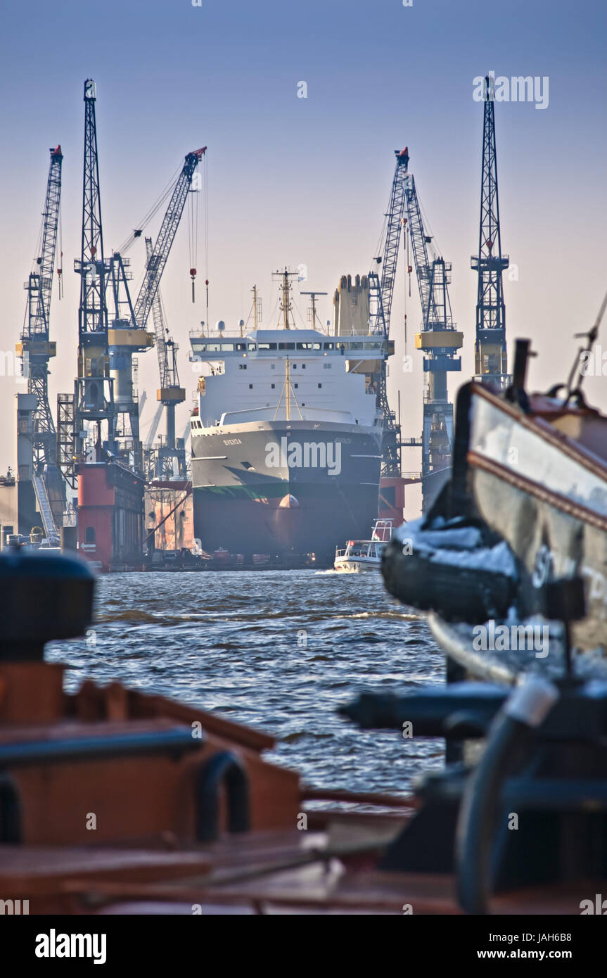 Germany,Hamburg,landing stages,Blohm and Voss,dry dock,'Svenja', - Stock Image