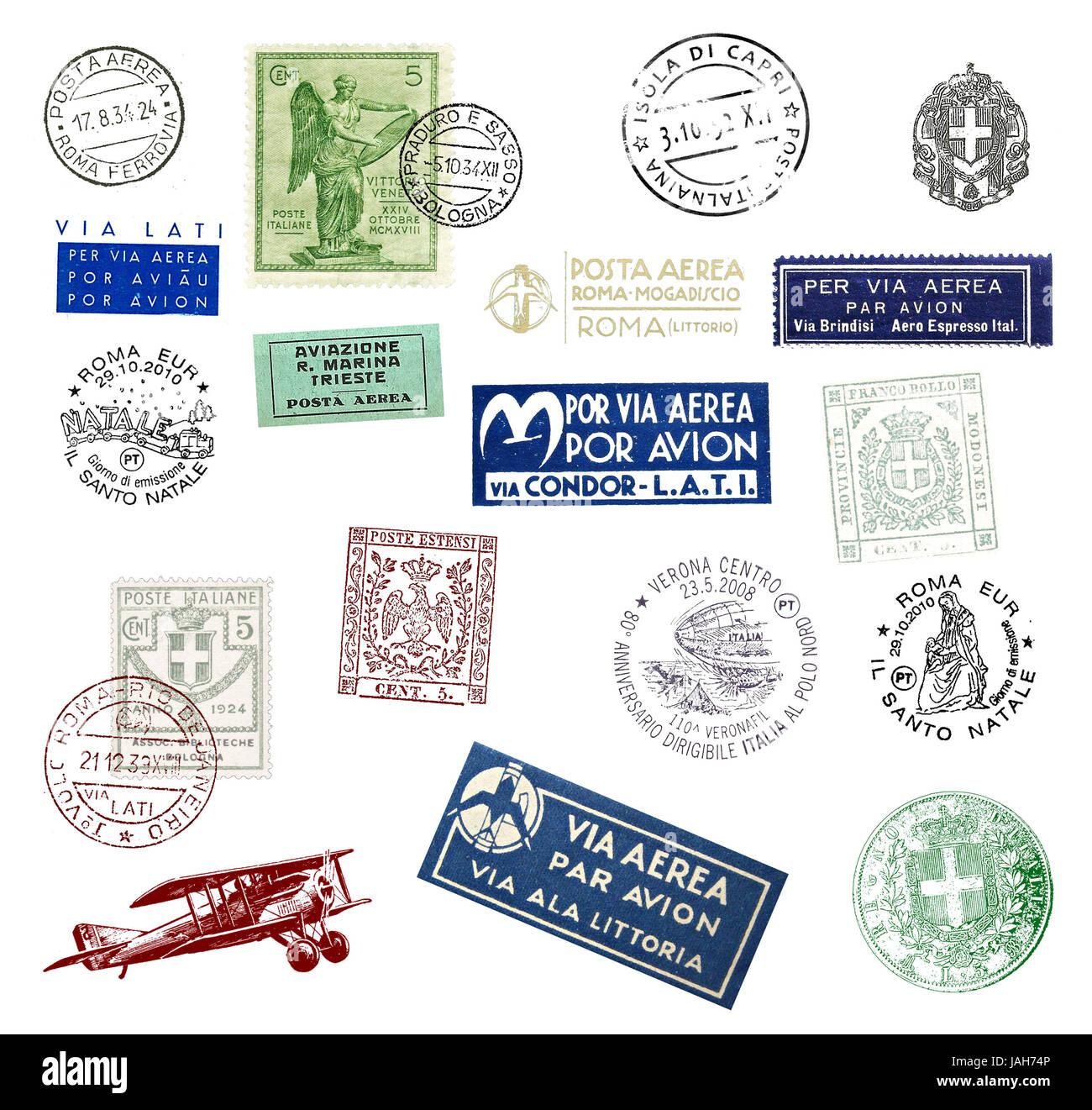 Verschiedene historische Briefmarken und Poststempel aus Italien Stock Photo