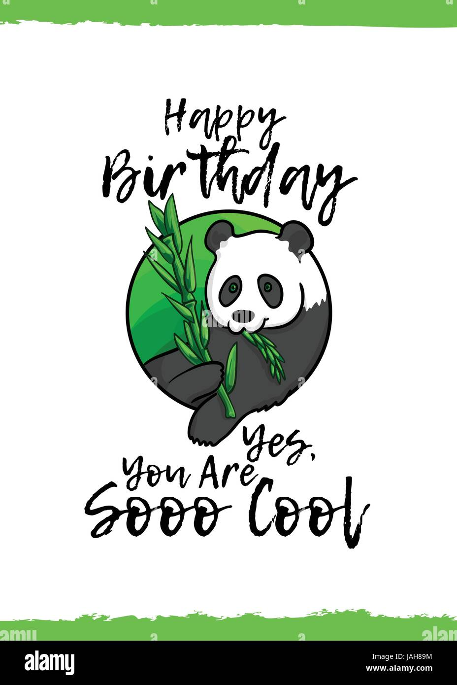 Happy birthday yes you are so cool greeting card with a cute happy birthday yes you are so cool greeting card with a cute animal and kind wish cartoon style suitable for kids congratulations giant panda be bookmarktalkfo Choice Image