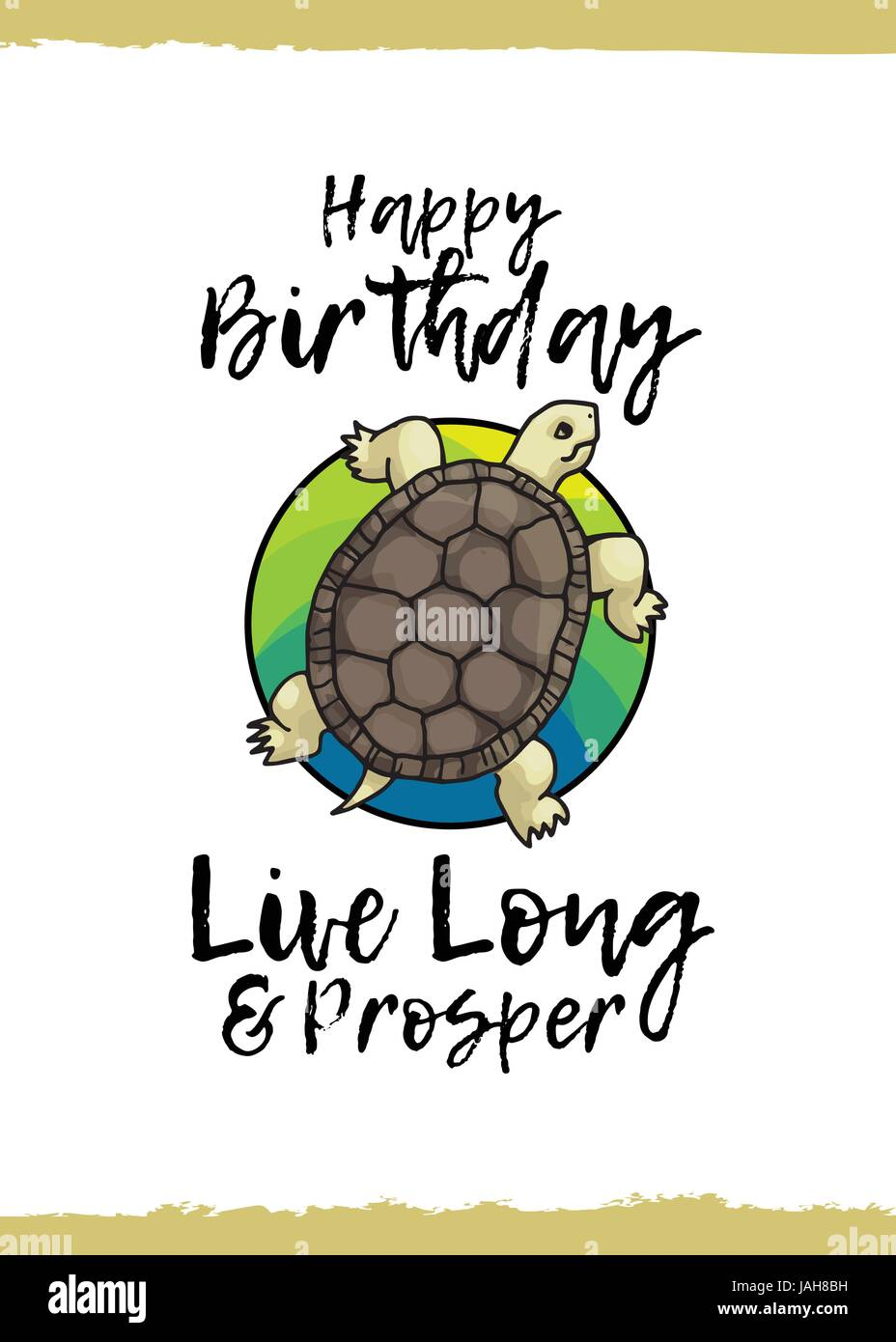 Happy Birthday Tortoise Live Long And Prosper Greeting Card With A Cute Animal Kind Wish Cartoon Style Suitable For Kids Congratulations Tur