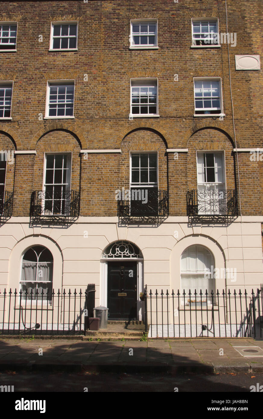 Terraced residential flats at Canonbury Square Islington London Stock Photo