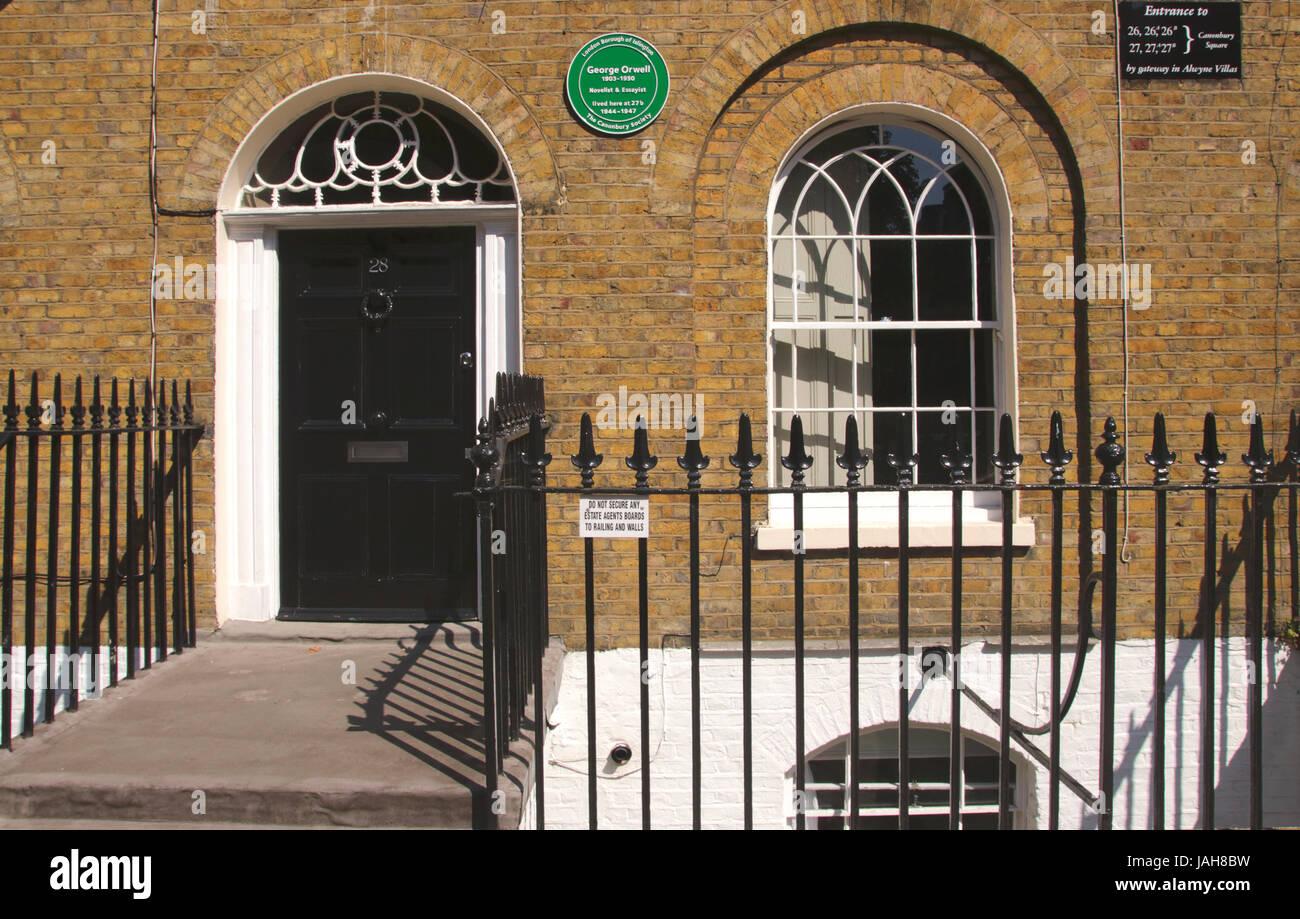 George Orwell ex residence Canonbury Square Islington London Stock Photo