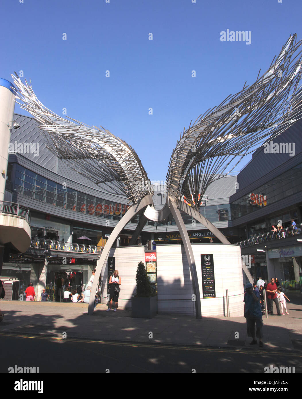 Angel Wings Sculpture Angel Central Shopping Centre Islington London Stock Photo