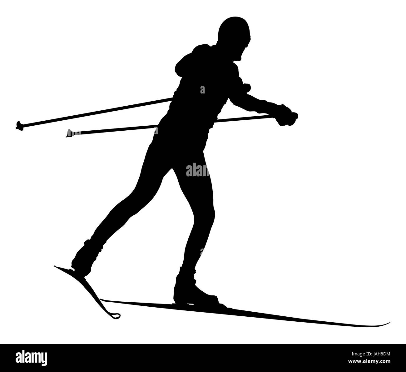 Black Silhouette Male Skier Cross Country Skiing