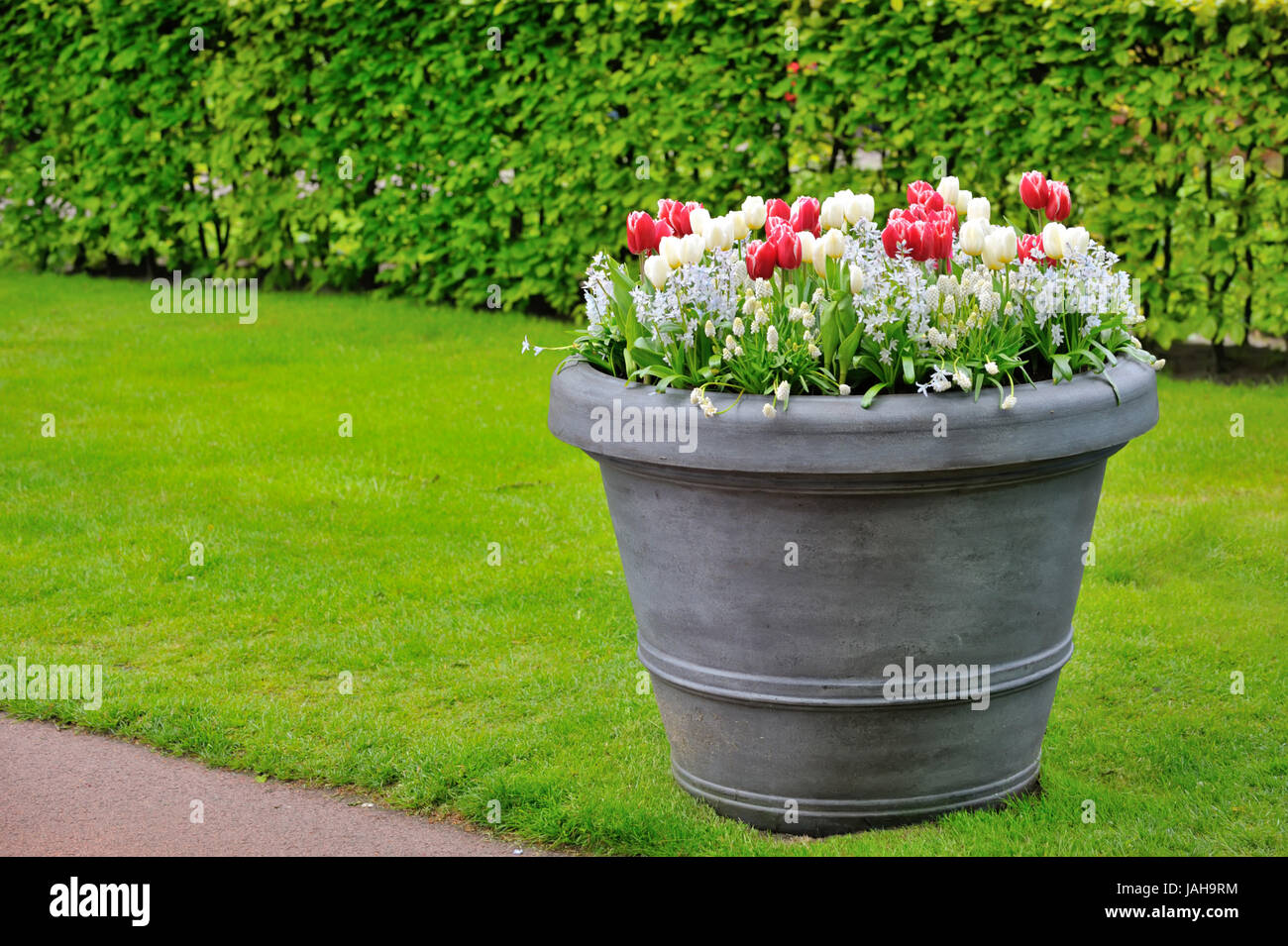 Basket Of Spring Flowers In Garden Shoot Stock Photo 144210408 Alamy