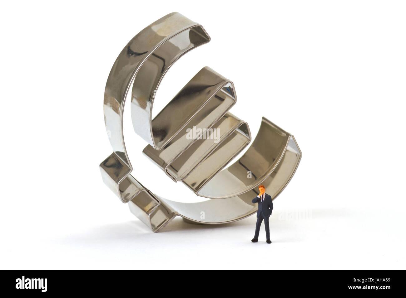 Figur von einem Manager mit Euro Symbol - Stock Image
