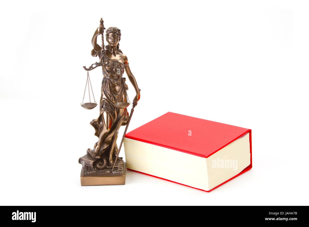 Justizia mit Gesetzbuch freigestellt auf weissem Hintergrund Stock Photo