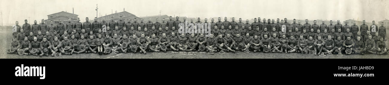 Antique c1917 'yardlong' photograph, Machine Gun Co 88th Infantry 19th Division, Camp Dodge, Iowa. The 88th - Stock Image