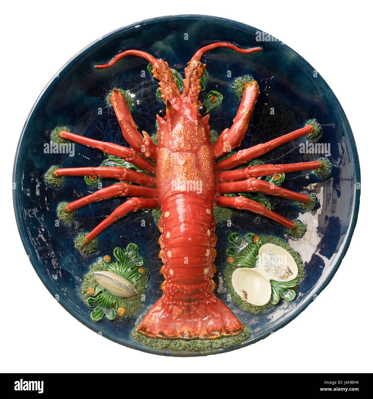 Dish with a ceramic lobster by Rafael Bordalo Pinheiro (19th century). Garden of the Museu da Cidade. Lisbon, Portugal - Stock Image