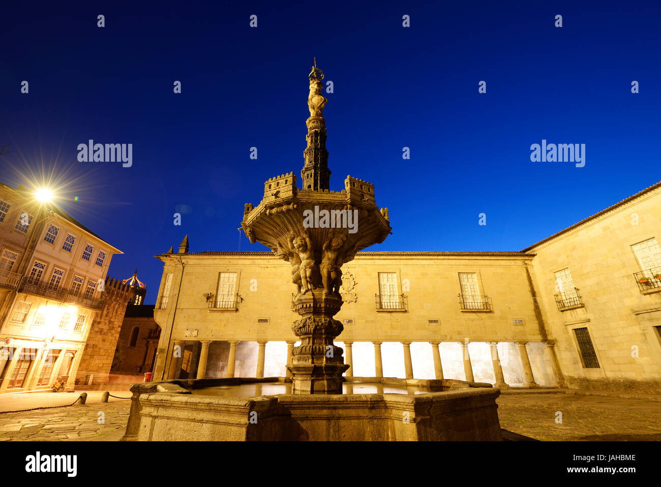 The 18th century fountain at the Largo do Paço. Braga, Portugal Stock Photo