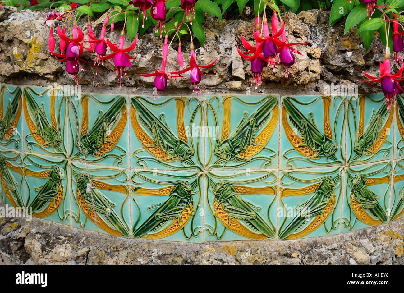 Tiles by Rafael Bordalo Pinheiro at the gardens of the Ceramics Museum (Museu da Cerâmica). Caldas da Rainha, - Stock Image