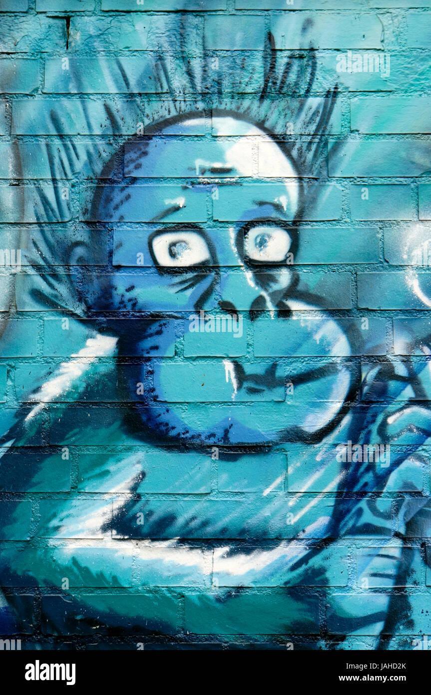 künstlerisches Graffito an der Außenmauer des  Kölner Zoo, Nordrhein-Westfalen, Deutschland, Köln Stock Photo