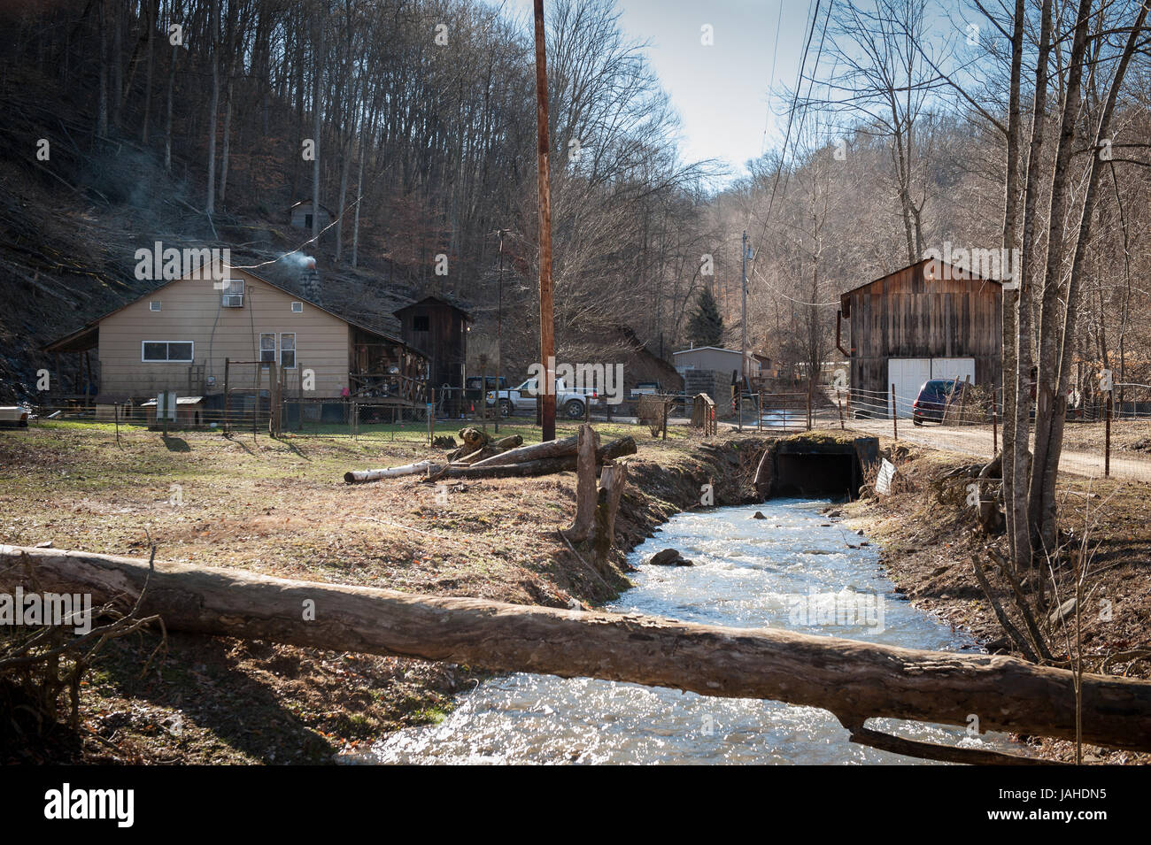 The hollow in West Virginia where Daniel J. Estep lives is the heart of coal country and has been hit hard as a - Stock Image
