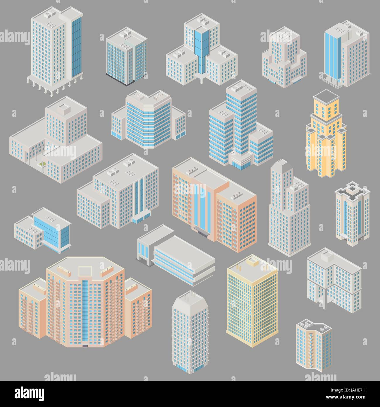 Vector isometric city infrastructure architecture map generator