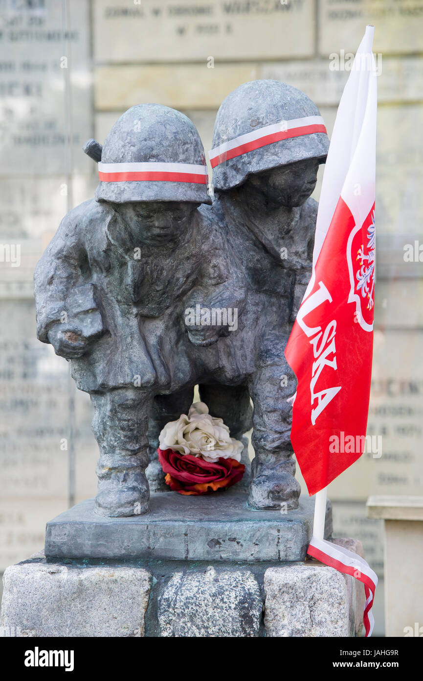 The monument of the Little Insurgents of Warsaw Urprising at St. Stanislaus Kostka Church and Sanctuary of Blessed Stock Photo