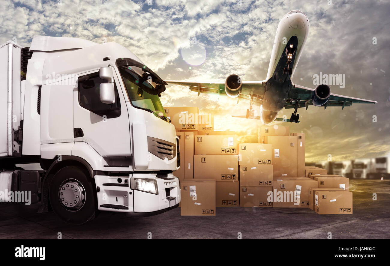 Truck and aircraft ready to start to deliver - Stock Image