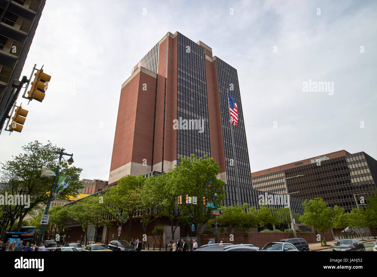 James A Byrne U.S. Courthouse building and william j green jr building at right Philadelphia USA - Stock Image