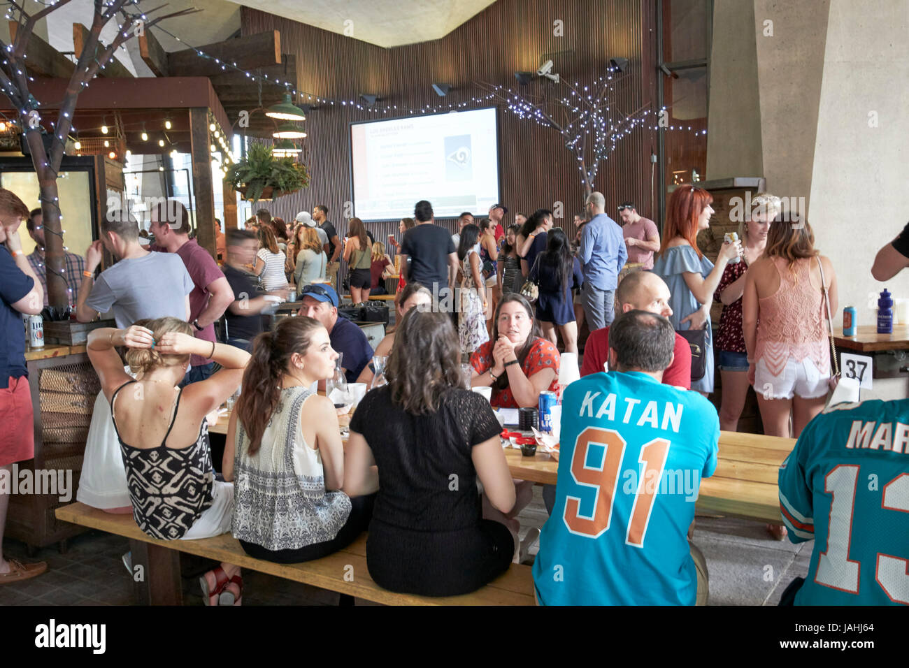sports fans in sports bar for the nfl draft 2017 Philadelphia USA - Stock Image