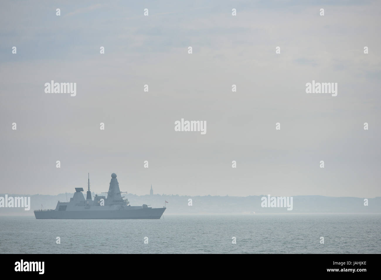 British Royal Navy destroyer HMS Daring (D32) in the Solent near Portsmouth - Stock Image