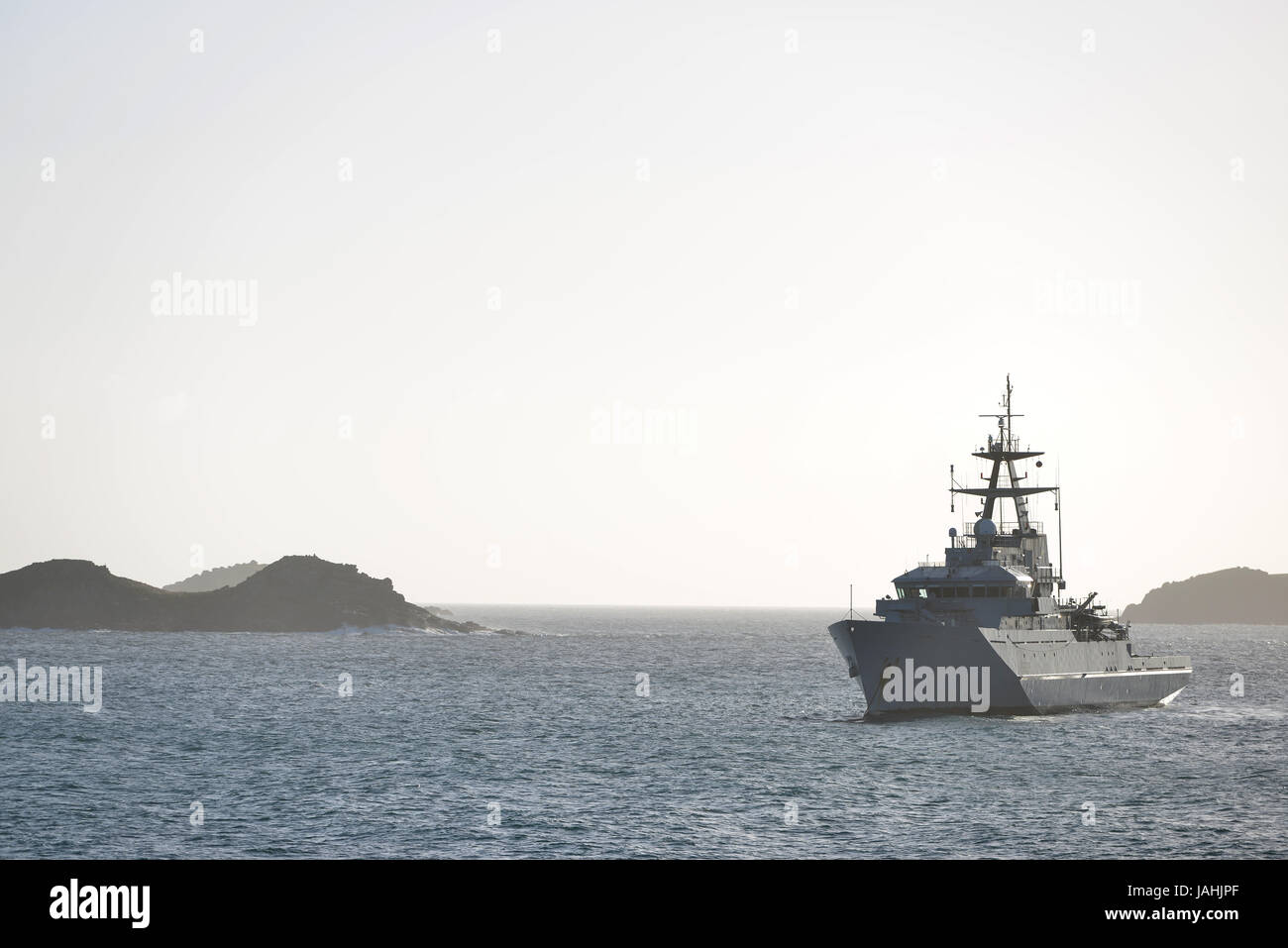 HMS Severn P282, British Royal Navy river class patrol vessel in the Scilly Isles. - Stock Image
