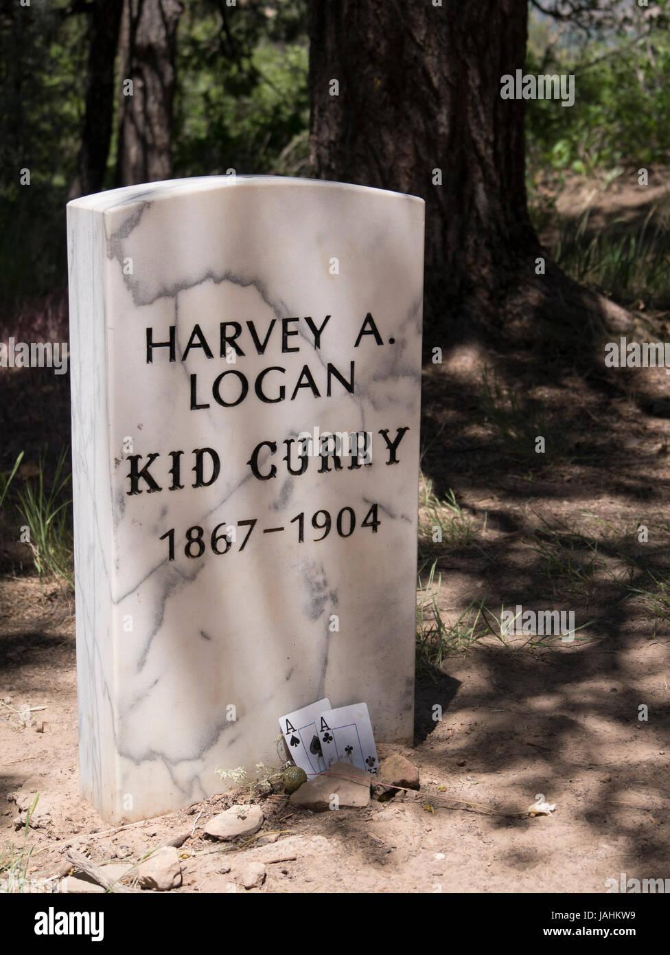 Kid Curry (Harvey A Logan) grave memorial, Linwood Cemetery, Glenwood Springs, Colorado. - Stock Image