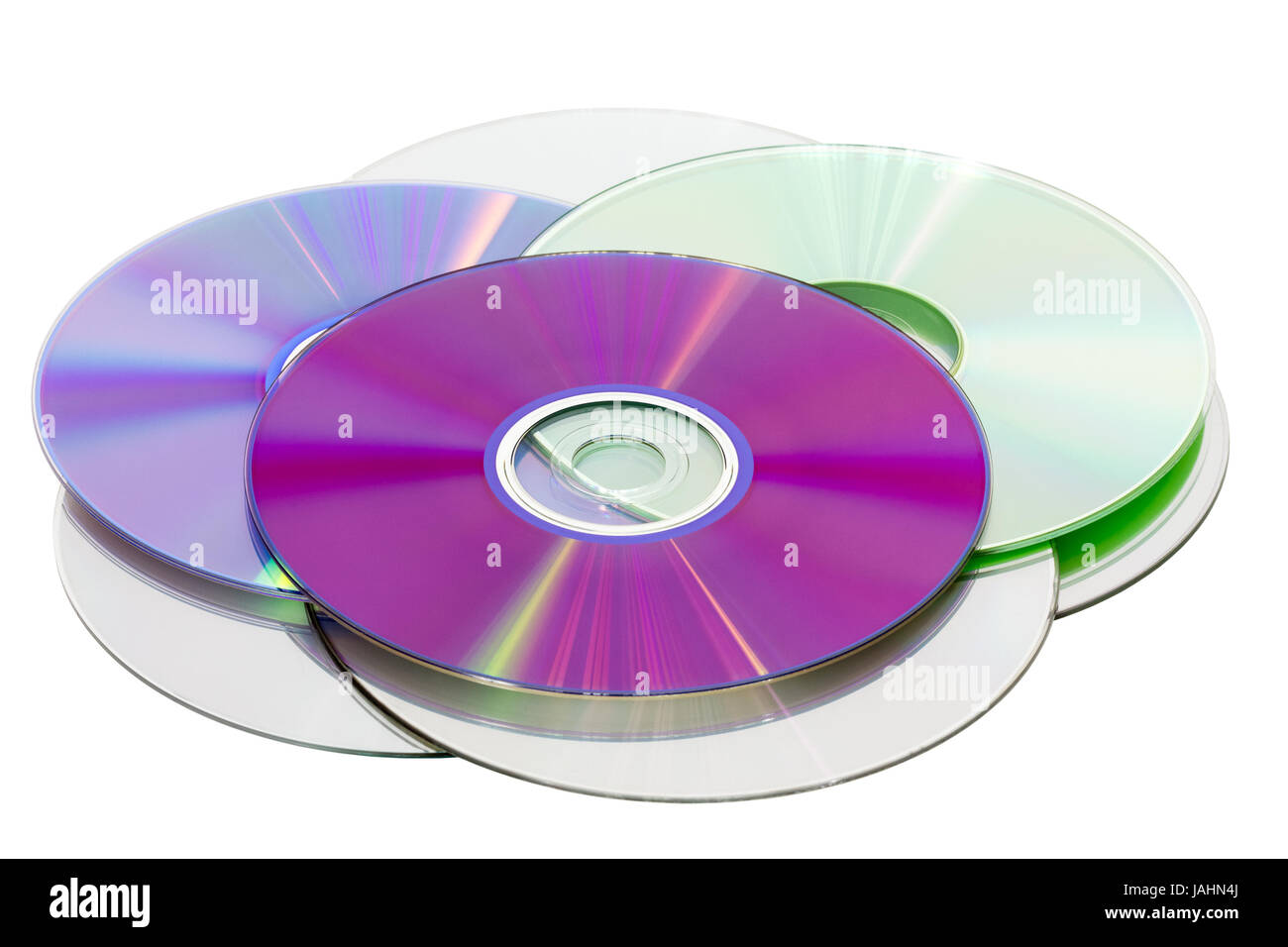 Stack of CD & DVD discs, isolated on white background Stock Photo