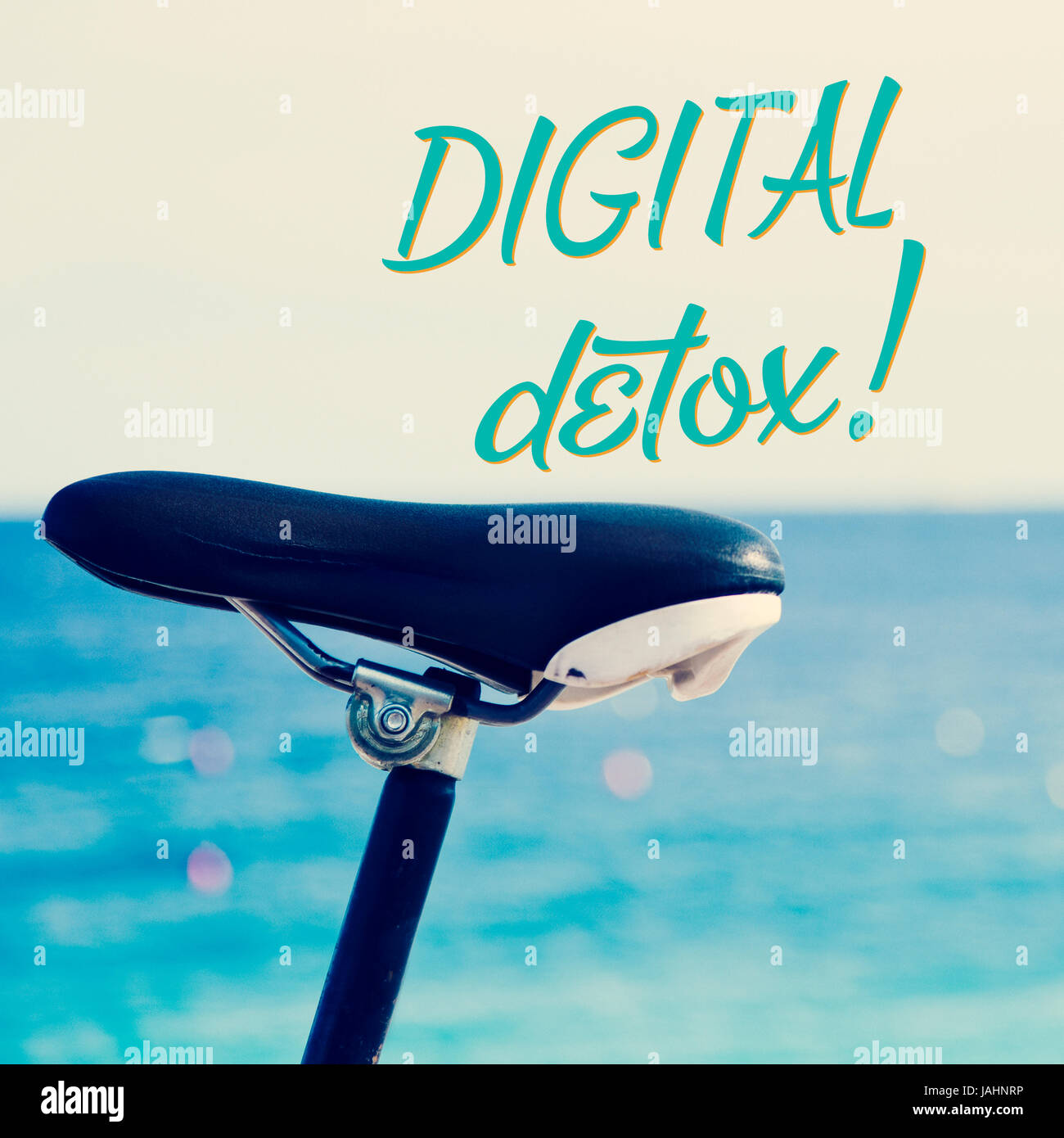 closeup of the saddle of a bicycle parked next to the sea and the text digital detox - Stock Image