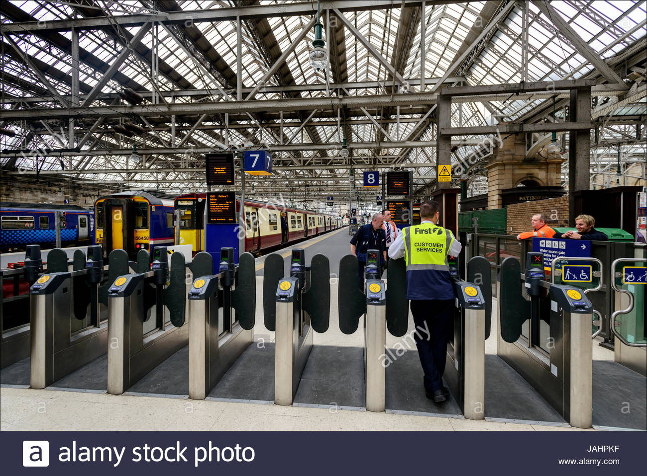 Turnstiles at the Central Railway Station, opened by the Caledonian Railway inn 1879, a major mainline terminus - Stock Image
