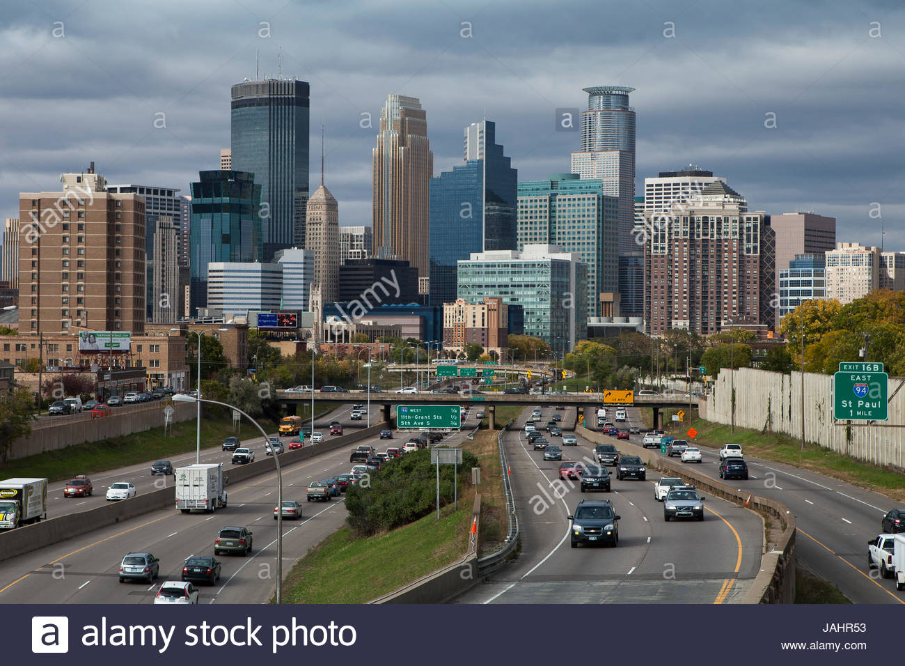 The skyline of Minneapolis, looking north from the junction of interstates 35W and 94, in 2014. - Stock Image