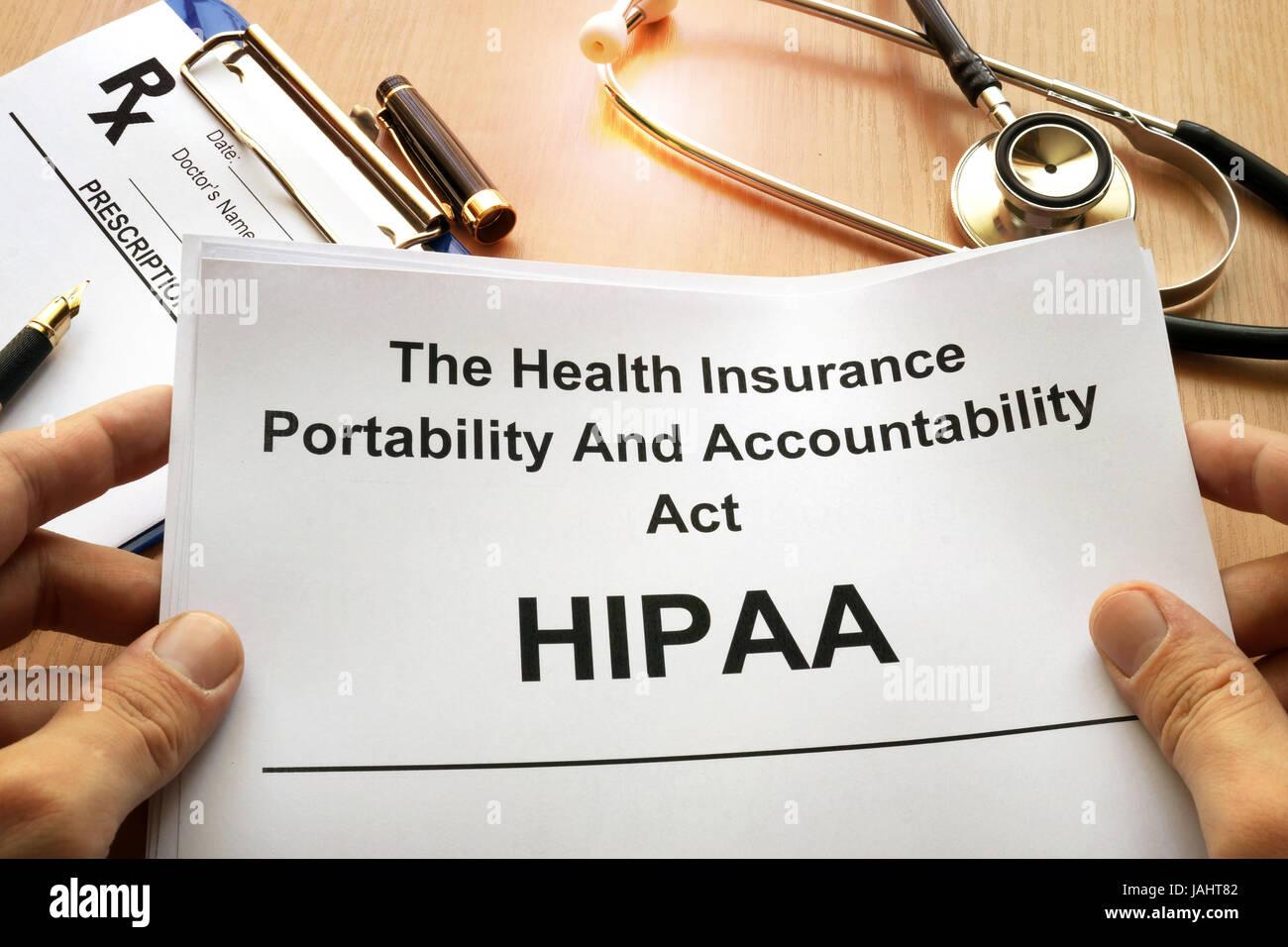 HIPAA.  The Health Insurance Portability and Accountability Act of 1996. - Stock Image