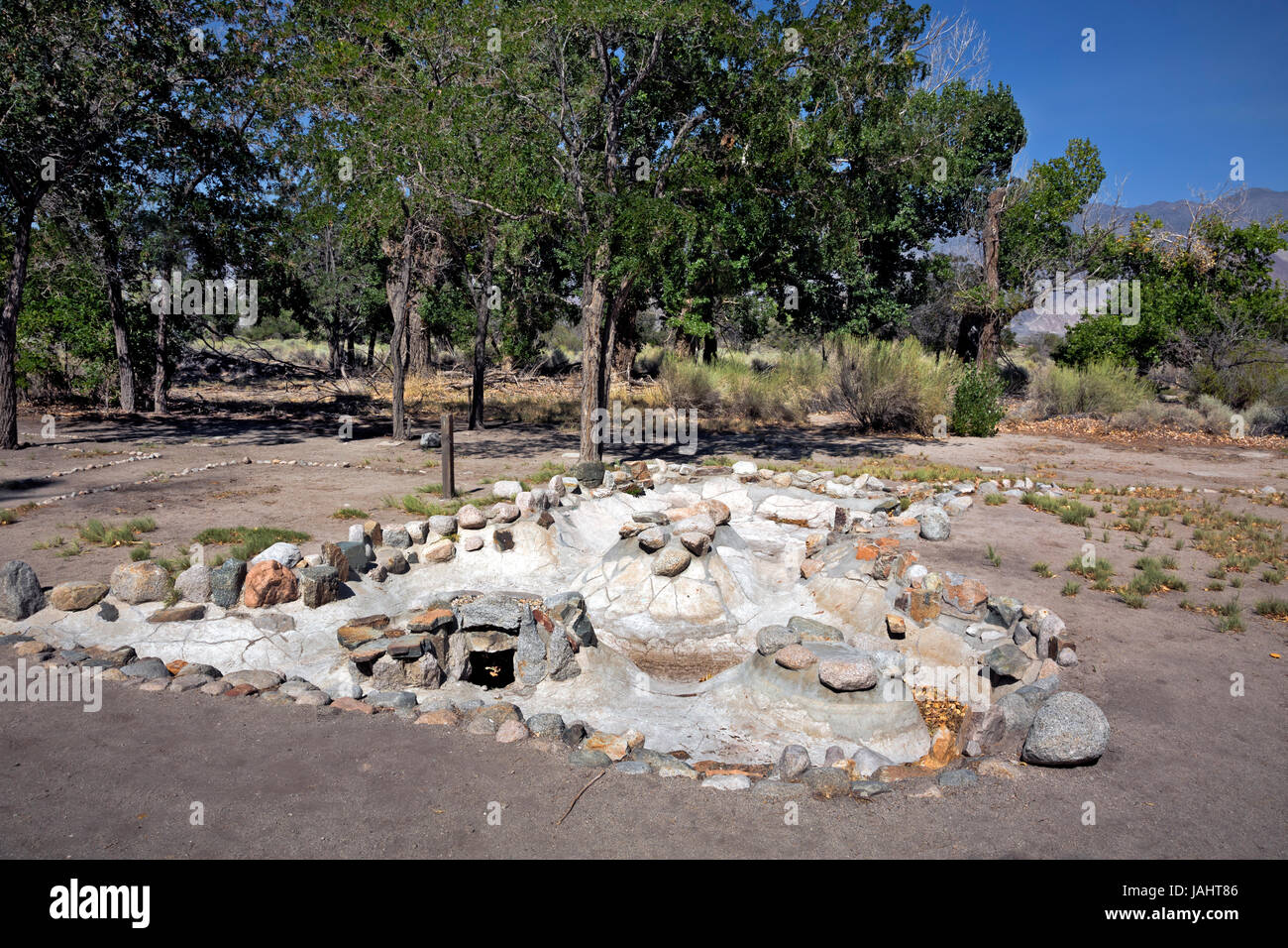 CA03266-00...CALIFORNIA - Designed and hand made fish pond created by the residents of Manzanar; a World War 2 Japanese - Stock Image