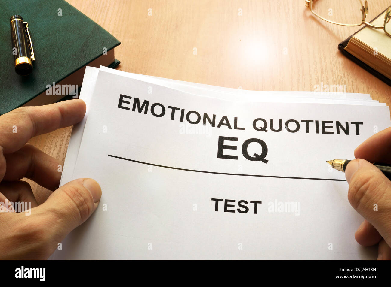 office test. Emotional Quotient EQ Test On A Office Table.