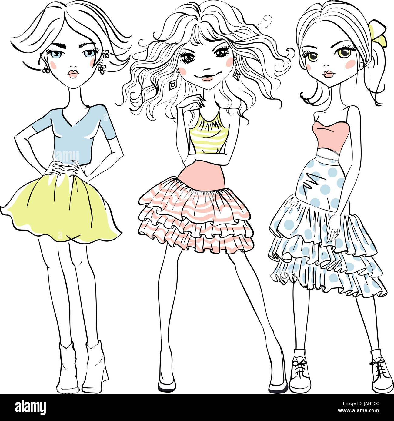 Vector cute fashion girls in t-shirts and skirts - Stock Vector