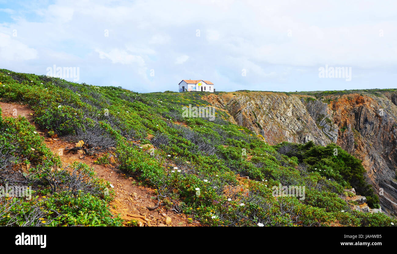 Secluded path into the sky, West Coast of Algarve, Portugal in spring Stock Photo