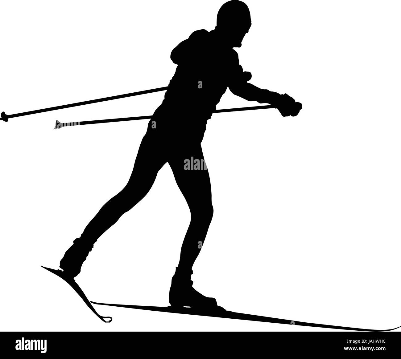 black silhouette male skier cross-country skiing - Stock Vector
