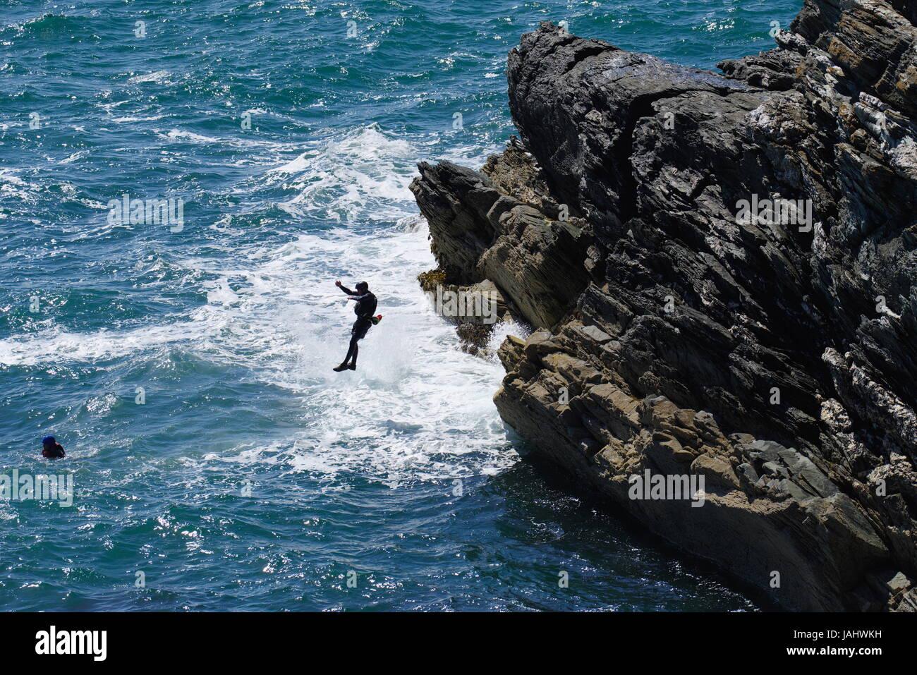 Coasteering, Porth Dafarch - Stock Image