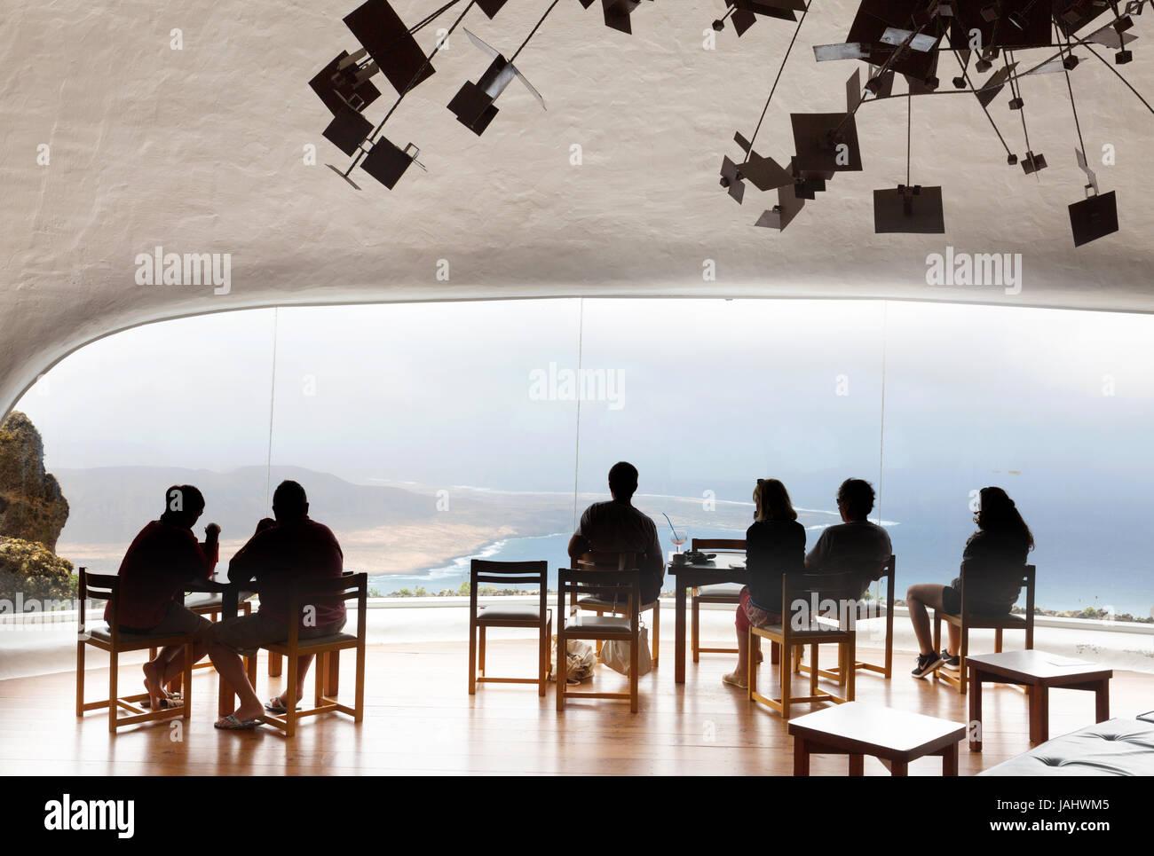 Lanzarote Mirador del Rio - people in the cafe designed by Cesar Manrique at the Mirador del Rio viewpoint, Lanzarote, - Stock Image